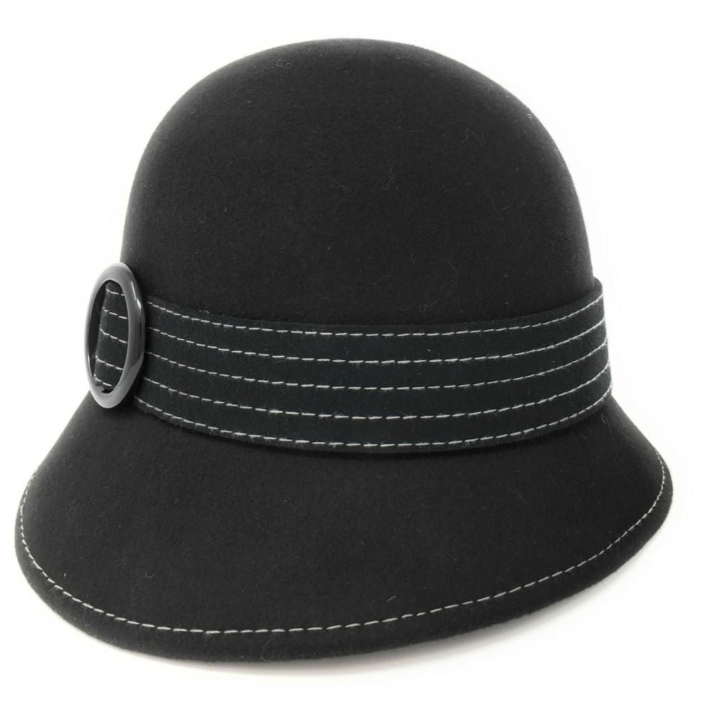 Black Wool Felt Cloche Hat - Celia